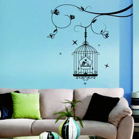 Wall Decal Tree Flowers Birds in Cage Design Wall Decals Bedroom Living Room Hotel Hostel Vinyl Stickers Home Decor Murals 3869