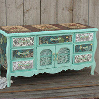 Jewelry Box, Shabby Chic, Music Box, Mint Green, French Provincial, Large Jewelry Box, Speak Softly Love, Decoupage, Damask, Hand Painted