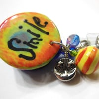 Rainbow of Color Smile Badge Reel - Whimsical and Happy - with Crystal Pendant and Silver Charm
