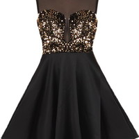Material Girl Dress   Black Gold Sequin Party Dresses   Rickety Rack