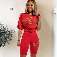GUCCI GG Women's Letter Sequin Embroidery Fashion Set Two Piece Set