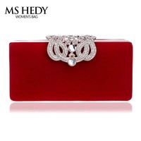 Luxury Diamonds Women Clutch Hang Bag Velvet Rhinestones Evening Bags For Wedding Bridal Party Wallet With Chains Purse
