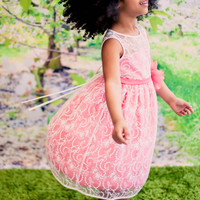 Dusty Rose Satin with Ivory Floral Lace Overlay Occasion Dress (Girls Sizes 2T - 12)
