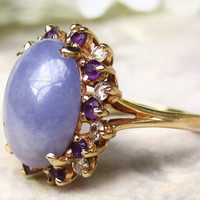 Vintage Lavender Jadeite Amethyst and Diamond Ring 14K Yellow Gold Basket Setting Alternative Engagement Ring Size 8!