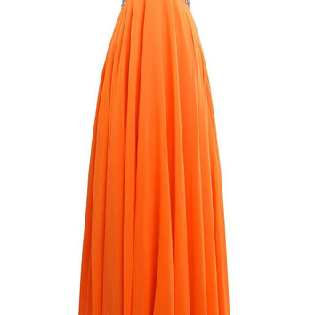 Cheap Beaded Bodice Orange Long Prom Dresses Am215