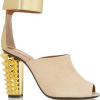 Fendi - Metallic leather and suede sandals