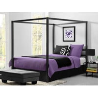 Queen size Modern Canopy Bed in Sturdy Grey Metal