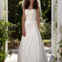 Strapless A-Line Satin Gown with Dropped Waist - David's Bridal