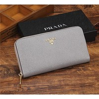 PRADA Classic Fashion Zipper Bag Leather Money F