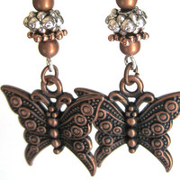 Butterfly Earrings Copper Charm Beaded Dangle Silver Wire Wrapped Sparkle Sterling Wires Fantasy Jewelry