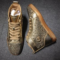Christian Louboutin CL Rhinestone Style #1973 Sneakers Fashion Shoes Best Deal Online