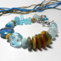 BRACELET. Beaded Jewelry Handmade Lampwork. Glass lampwork bead.