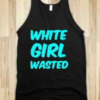 white girl wasted black neon blue tank