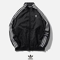 Adidas New fashion embroidery letter leaf long sleeve coat windbreaker Black