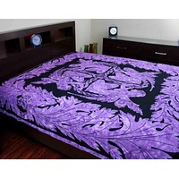 Handmade Cotton Faerie Braid Celtic Tapestry Tablecloth Coverlet Purple Twin Full