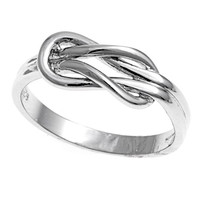 925 Sterling Silver Promise Knot 7MM Ring