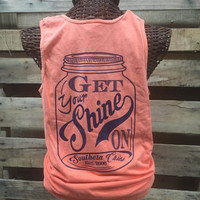 Southern Chics Comfort Colors Shine On Mason Jar Melon Girlie Bright T Shirt Tank Top