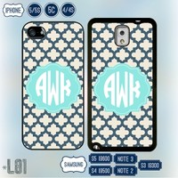 Monogram iPhone 4 case Personalized Samsung galaxy S5 cover Note 3 5S 4S S4