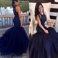 Long O neck Halter Mermaid Prom Dress 2017 Navy Blue Off the Shoulder Beading Floor Length Tulle Open Back Girl Prom Dresses