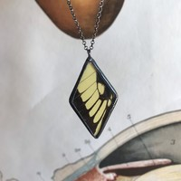 Giant Yellow Swallowtail Butterfly Diamond Necklace