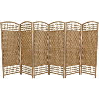 Oriental Furniture FB-4DMND-NAT-6P Four Ft. Tall Fiber Weave Room Divider, Width - 96 Inches