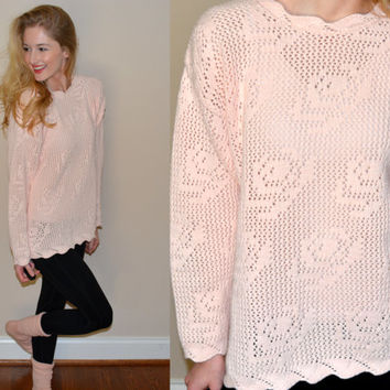 Adorable Light Pink Knit Sweater Womens Pink Rose Pullover Winter Sweater Sweet Jumper Vintage Cape Isle Knitters