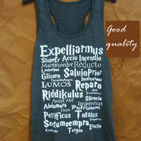 Cute tops Expelliarmus Harry Potter shirt Deathly Hallows tank top size S M L XL racer back tank/ workout tank/ t shirt/ sale clothes