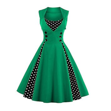 Going out Vintage A Line Polka Dot Green Dress