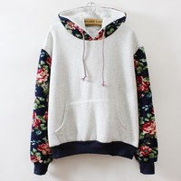 Autumn Winter Women Casual Thick Warm Floral Printed Hoodies Sweatshirts Long Sleeve Hooded Long Coat Jackets Female