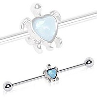 316L Stainless Steel Heart Synthetic Opal Turtle Industrial Barbell