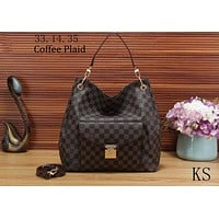 LV Louis Vuitton 2018 new women's fashion brand fashion shoulder bag handbag F-KSPJ-BBDL Coffee Plaid