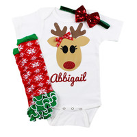 Personalized Reindeer Baby Girls Christmas Outfit with Leg Warmers and Sparkly Bow on Headband Reindeer Personalized Christmas Outfit