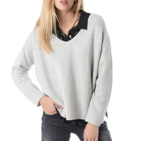 Gray knit crop sweater with V neck