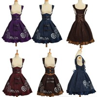 Elegant Gothic Steampunk Dress Vintage Women Victorian Period  Lolita Embroidered Lace-up Corset Suspender Costume Cosplay