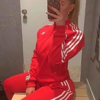 ADIDAS Women Men Zipper Coat Jacket Long Pants Two Piece Suit B104507-1 Red