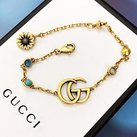 GUCCI Fashion New Letter Bracelet Women Accessories Golden