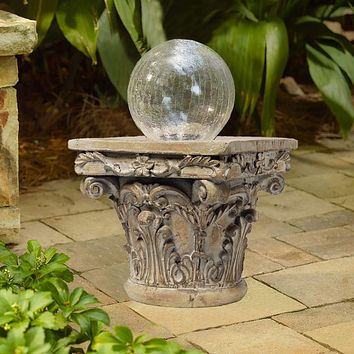 Traditional Resin Decorative Pedestal with Scrolled Design, Weathered Brown By Casagear Home
