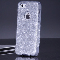 Otterbox iPhone 5 5S Case - Custom Silver/Grey Glitter iPhone 5 5S Otterbox Case - Sparkly Bling Otterbox Cover