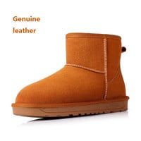 2016 new women's winter genuine leather snow ankle boots Ladies Womens Girls Fur Lined Winter Snow Boots cow split Shoes