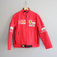 Rare Ferrari Team Car Racer Jacket Red Ferrari Jacket Quilted Marlboro Collectibles Jacket Size M - L