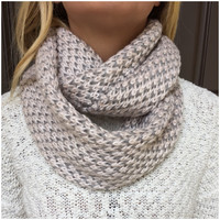 Pink & Grey Speckled Knit Infinity Scarf - Pink & Grey Speckled Knit Infinity Scarf