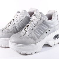 90s Vintage Silver Chunky Platform Tennis Shoes Sneakers White Trainers Club Kid Raver Spice Girl Womens Size US 8.5 UK 6.5 EUR 38