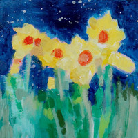 """Little Abstract Yellow Flowers, Acrylic Painting, Small Modern Art, """"Daffodils Under the Stars"""" 8x8"""