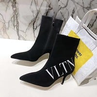 Valentino Trending Women's Black Leather Side Zip Lace-up Ankle Boots Shoes High Boots