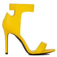 Elliot Open Toe Ankle Strap Yellow Heeled Sandals