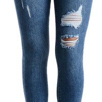 Knee Cut Distressed Fray Skinny Jeans