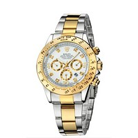 Rolex Trending Women Men Stylish Personality Quartz Watch Couple Wristwatch Silvery Golden Watchband+White Dial I-YY-ZT
