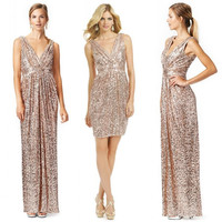 Sparkly Sequins Long Gold Bridesmaid Dresses 2017 Hot V Neck Pleated Floor Length Sequin Bridesmaid Dress Plus Size Custom Made