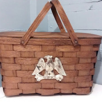 Vintage, Picnic Basket, Basket, Woven,  Wood, Lid, Handles, Vermont, Country, Farmhouse, Kitchen Decor, RhymeswithDaughter