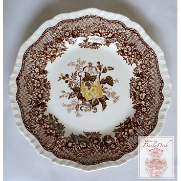 Autumn Brown English Transferware Ironstone Plate Masons Ascot Flower Basket